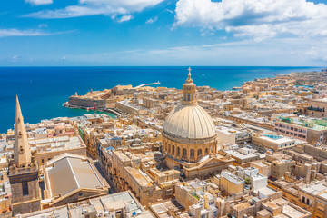 Aerial view of Lady of Mount Carmel church, St.Paul's Cathedral in Valletta city, Malta.