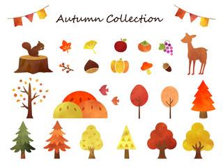 秋の水彩コレクション1 Wall mural