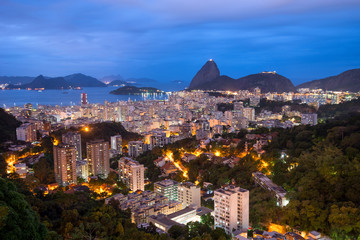 Rio de Janeiro before Sunrise, City Lights and Sugarloaf Mountain - Brazil