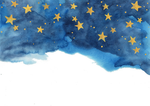 Night sky and gold star watercolor hand painting  for decoration on winter season and Chritsmas holiday.