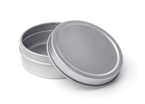 Open empty metal round container