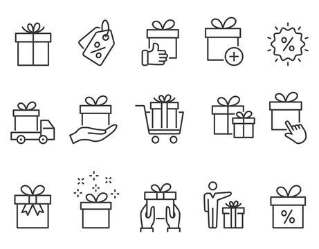 Gift box line icons set. Black vector illustration. Editable stroke.