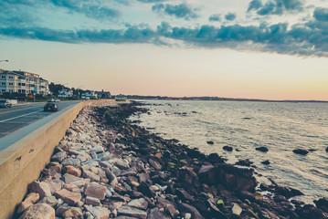 Rhode Island ocean rocks at sunset