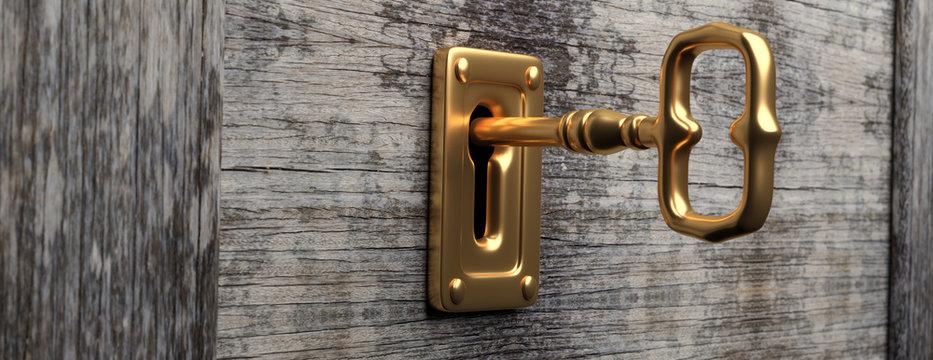 Gold key and keyhole, wood door background, banner. 3d illustration