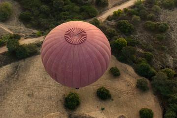 Bagan aerial view from hot air balloon