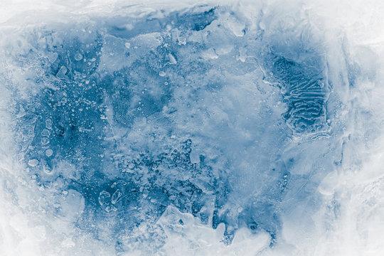 Textured ice block surface background.