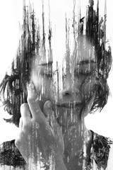 Paintography. Double Exposure portrait of a young beautiful woman with hand on face combined with hand drawn ink and pen drawing