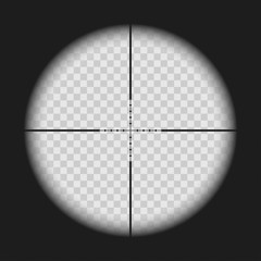Realistic sniper sight with measurement marks isolated on transparent background. View through a rifle scope with crosshair. Gun viewfinder target. Template design for GUI element, gaming.