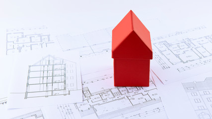 Haus, Modell, Baupläne, Skizze