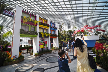 People view and take pictures of orchids near a structure designed to resemble Singapore's public housing flats during the Orchid Extravaganza 2019 floral display at Gardens by the Bay in Singapore