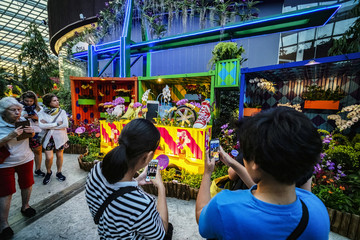 Visitors take pictures with their smartphones of a display of mock containers and quay crane that pays homage to Singapore's entrepot trading history during the Orchid Extravaganza 2019 floral display at Gardens by the Bay in Singapore