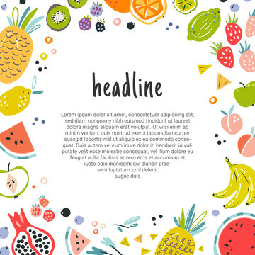Fruit decorative frame in flat hand drawn style, illustrations border. Tropical vector template for banner, flyer print card and invitation. Ingredients color cliparts made as graphic concept. Sketch