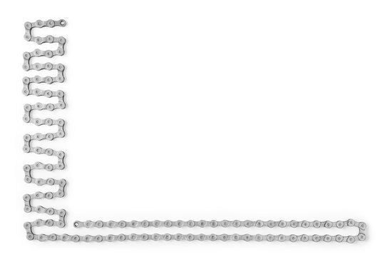 Bicycle chain lying as frame isolated with clipping path