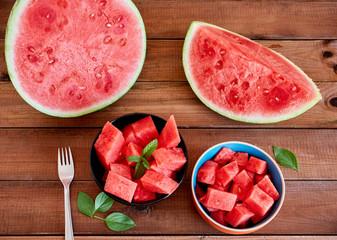 Printed kitchen splashbacks Meat Two bowl with fresh watermelon on dark table
