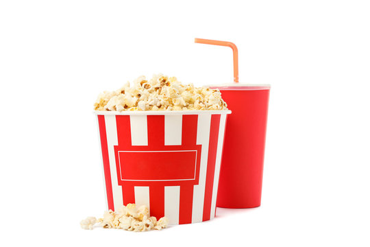 Bucket with popcorn and paper cup isolated on white background