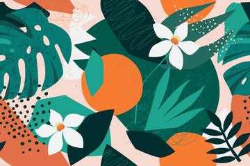 Collage contemporary floral seamless pattern. Modern exotic jungle fruits and plants illustration in vector. Wall mural