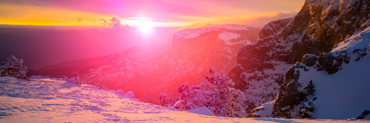 Acrylic Prints Candy pink Sunset in the evening in the mountains. Winter season, February.