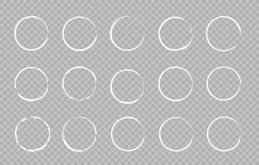 Wall Mural - Set of Hand drawn circle. Drawning circle. Scribble doodle. Brush circle. Vector illustration.