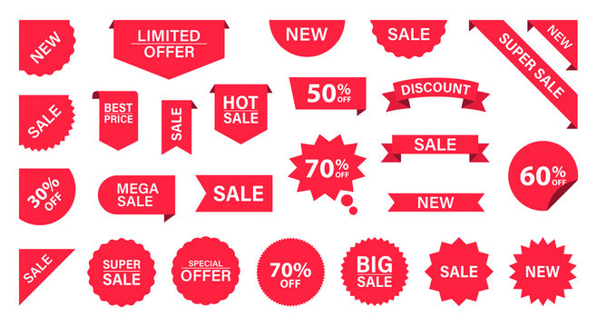 Sale Label collection set. Sale tags. Discount red ribbons, banners and icons. Shopping Tags. Sale icons. Red isolated on white background, vector illustration.