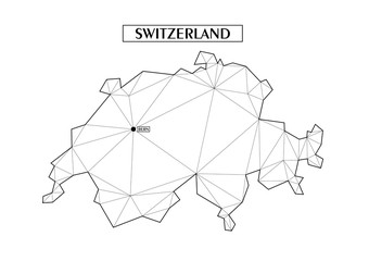 Polygonal abstract map of Switzerland with connected triangular shapes formed from lines. Capital city - Bern. Good poster for wall in your home. Decoration for room walls.