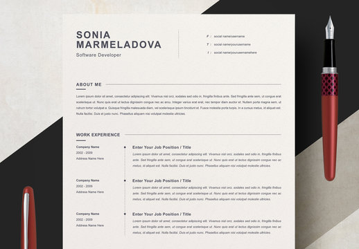 Clean Minimalist Resume Layout Set