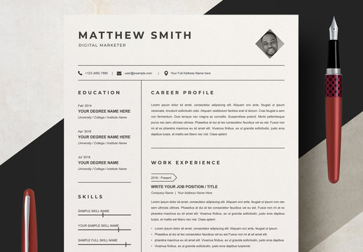 Clean Resume Layout Set with Diamond Photo Mask