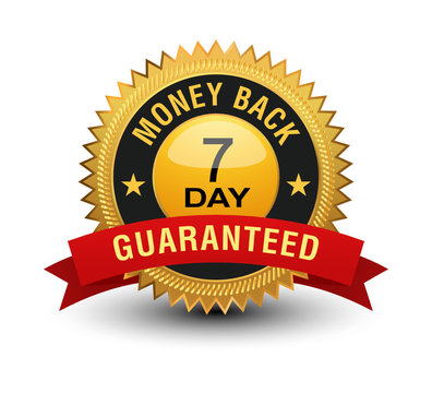 Top quality golden 7 day money back guaranteed banner, sticker, tag, icon, stamp, label, sign with red ribbon on top, isolated on white background.