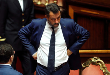 Deputy Prime Minister Salvini looks on as the Italy's government is set to face Senate confidence vote on security and immigration decree in Rome