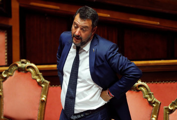 Deputy Prime Minister Salvini gestures as Italy's government is set to face Senate confidence vote on security and immigration decree in Rome