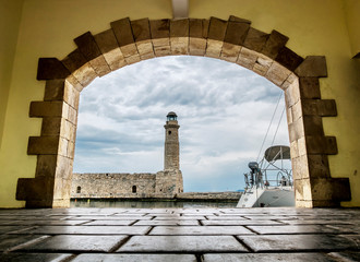 View of the lighthouse and the promenade of Rethymno in Greece.