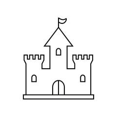 Castle icon. Vector graphics, a linear pattern on a white background, eps 10.