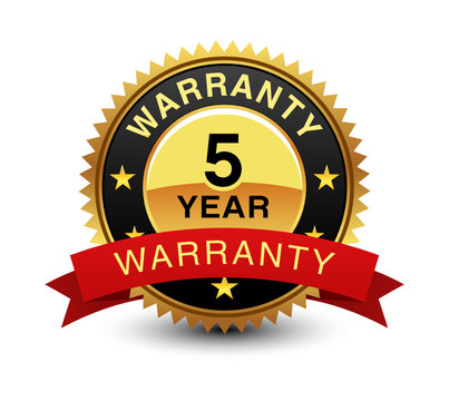 Strong, high quality, powerful, 5 year warranty badge, sign, seal, stamp, label with red ribbon on top.