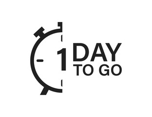 1 day to go isolated vector icon. Countdown vector sign. Vector alarm of sale or low price.