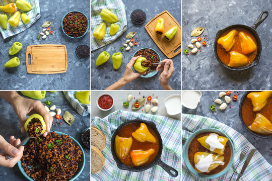 Collage with cooking stuffed pepper with wild rice and vegetables