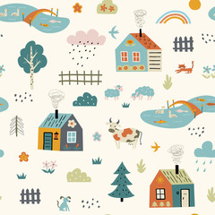 Seamless funny childish pattern with cute village. Cartoon farm landscape with country houses, pets, pond. Scandinavian style kids texture for fabric, wrapping, textile. Vector flat illustration.