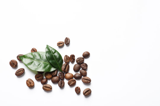 Fresh green coffee leaves and beans on white background, top view