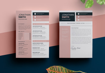 Resume Layout with Sidebar and Pink Elements