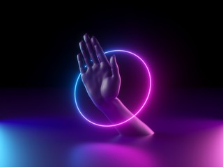 3d render, abstract minimal neon background, mannequin hand in ultraviolet light, pink blue glowing ring, round frame, fashion concept, virtual reality, mysterious performance, magical trick show Wall mural