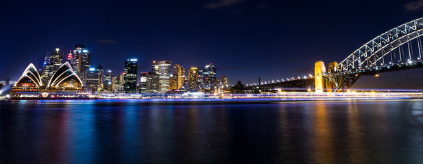view of central sydney city harbour area in australia at night