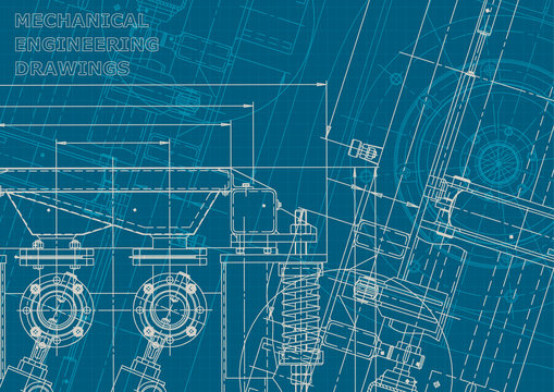 Blueprint. Corporate style. Instrument-making drawings