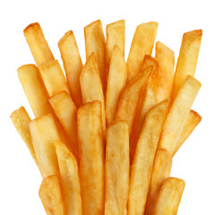 Delicious french potato fries, isolated on white background