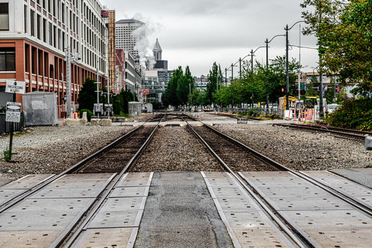 Tracks in Industrial Area of Downtown Seattle