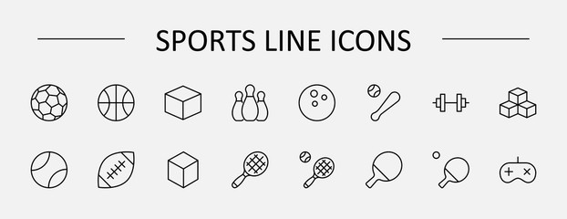 Set of Sports balls, hobbies, entertainment vector line icons. It contains symbols of football, basketball, bowling, tennis and much more. Editable Stroke. 32x32 pixels. Wall mural