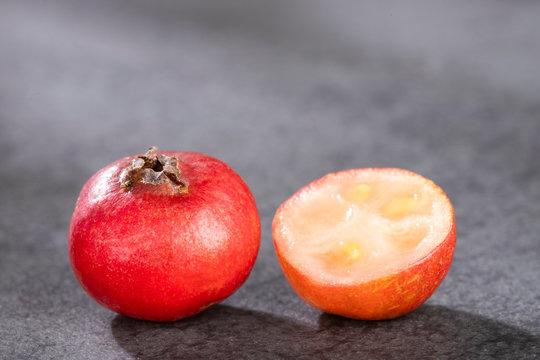 Psidium cattleianum - Strawberry guavas. Top view