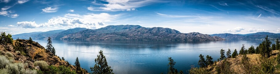 Aluminium Prints Canada Panoramic View of Okanagan Lake from Knox Mountain Park located at Kelowna British Columbia Canada