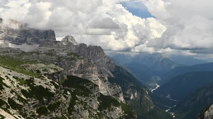 Fotomurales - Italian Dolomites and Auronzo Di Cadore in the Valley. Time-lapse Summer Scenery.