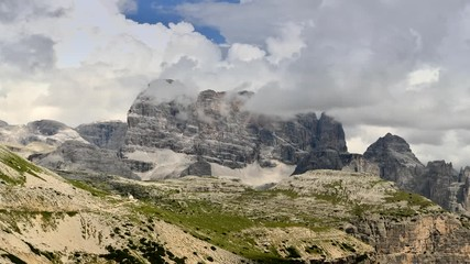 Wall Mural - Scenic Italian Dolomites Peaks During Stormy Summer Day. Misurina, Italy. Time Lapse Video.