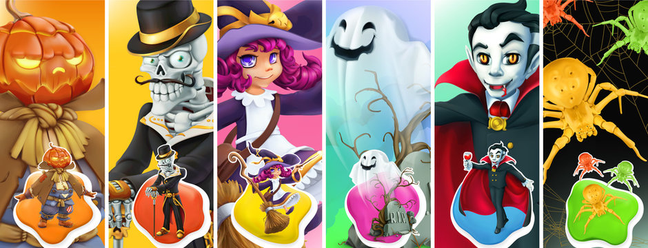 Happy Halloween. Scarecrow pumpkin, skeleton, witch, ghost, vampire, spider. 3d vector background