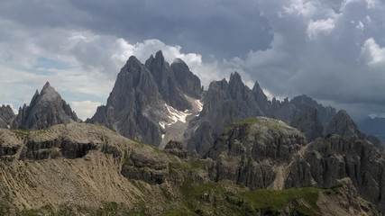 Wall Mural - Cadini Di Misurina Mountain Peaks Covered by Stormy Clouds. Belluno Province, Italy. Italian Dolomites.