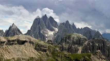 Wall Mural - Time Lapse of Peaks of Cadini Di Misurina Mountain Peaks Covered by Stormy Clouds. Belluno Province, Italy.